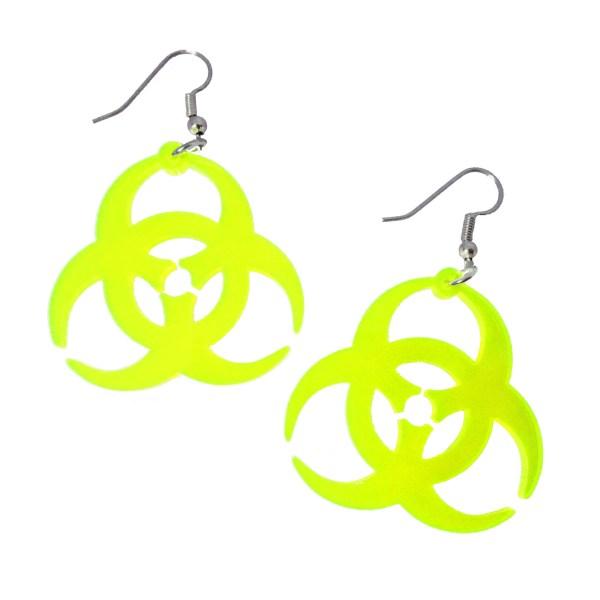 Big Biohazard Neon Yellow Clear Acrylic Plastic Rave Dangle Earrings
