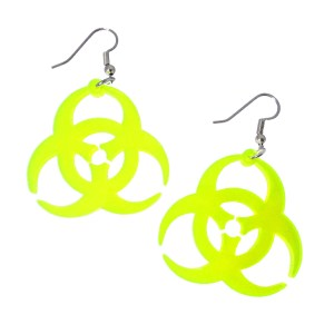 Big Biohazard Neon Yellow Clear Acrylic Plastic Rave Dangle Earrings