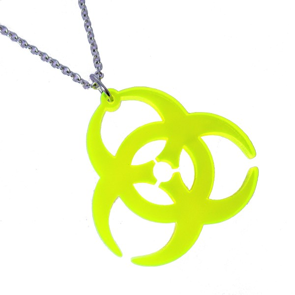 Big Biohazard Neon Yellow Clear Acrylic Plastic Rave pendant necklace