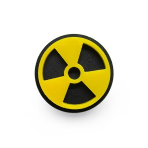 Radioactive nuclear atom bomb logo symbol sign acrylic pinback pin