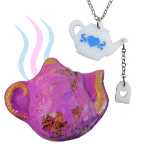 Teapot charm necklace with heart teabag tag pouring motion white teapot with blue heart engraving pendant necklace with bath bomb gift set