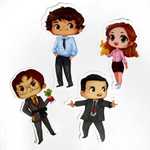 The Office cast stickers with office sign dangle earrrings