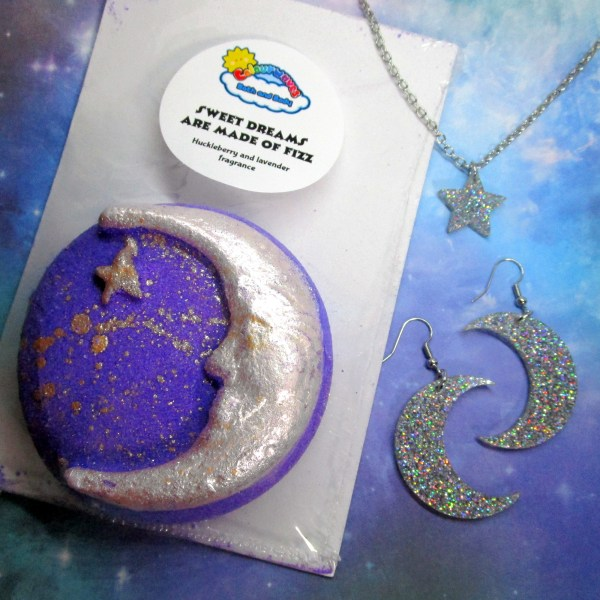 moon and stars earrings and necklace with delicious bath bomb magical gift set