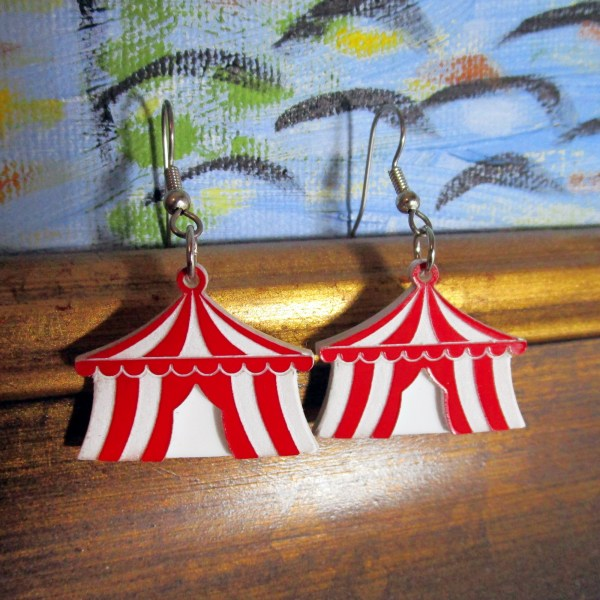 Cute Little Black or Red Carnival Circus Tent Big Top Big Dangle Statement Earring Jewelry
