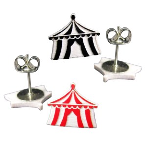 Cute Little Black or Red Carnival Circus Tent Big Top Stud Earrings