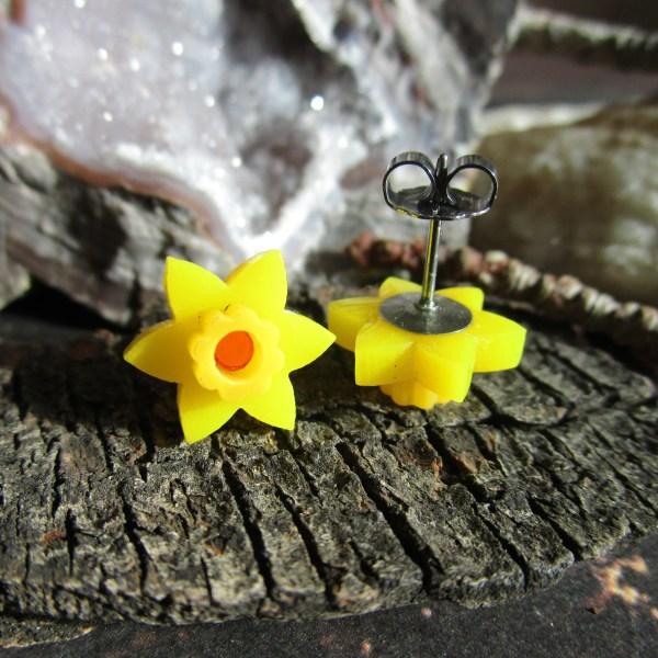 Daffodil Stud earrings Springtime Bulb Yellow Flower Little D Post Earrings Jewelry