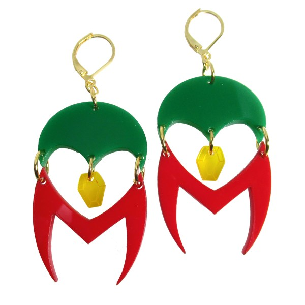 Westview Super Lovers Wanda Scarlet Witch and the Vision logo Infinity stone inspired earrings design