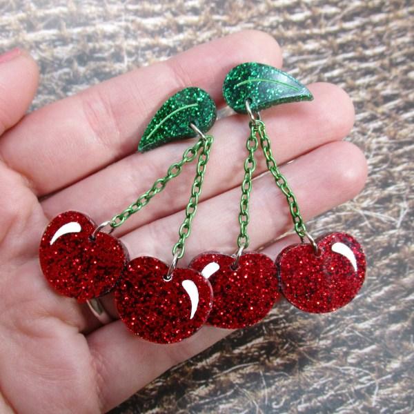 Bing Cherries Red Glitter Cherry fruit dangle stud earrings twin cherries big earrings jewelry pinup