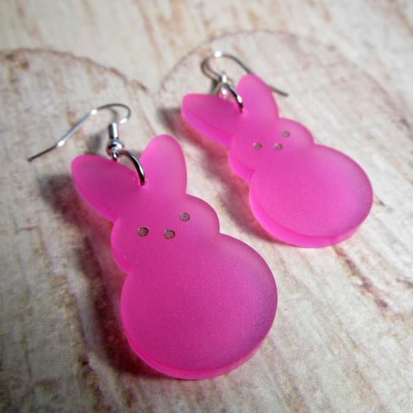 Easter Bunny Rabbit Peeps Candy Big Dangle Earrings lightweight pink green white yellow bunny peep shape jewelry