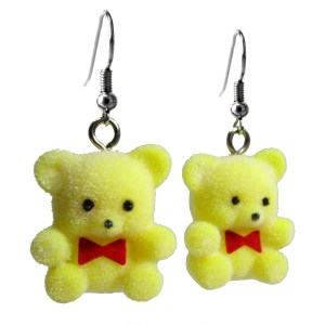Nostalgic Retro Yellow Flocked teddy Bear Dangle Earrings Jewelry