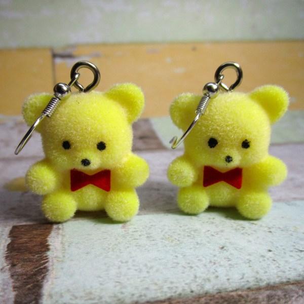 Nostalgic Retro Yellow Flocked teddy Bear Dangle Earrings Jewelry