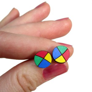 Red Blue Yellow Green Juggling Balls circus juggler acrobat fun hand painted stud earrings jewelry