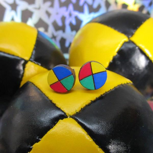 Red Blue Yellow Green Juggling Balls circus juggler acrobat fun hand painted stud earrings jewelry