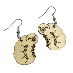 Tardigrade Water Bear Moss Piglet Pendant Wood Statement Dangle Earrings Science Jewelry