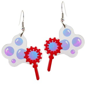 Iridescent Blowing Bubble Bubble Wand Summer Spring Time DAngle Statement Party Earrings