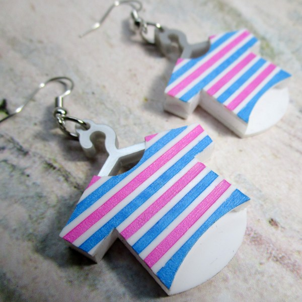 Striped Shirt Pink Blue Black White Funny T Shirt on Hanger Laundry day Dry cleaners dangle hanging earrings jewelry