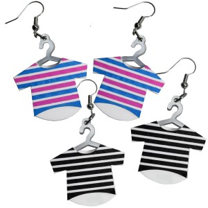 Striped Shirt Pink Blue Black White Funny T Shirt on Hanger Laundry day Dry cleaners dangle hanging earrings