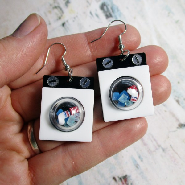 Washing Machine Laundry Day Socks Dangle Pendant Earrings Jewelry