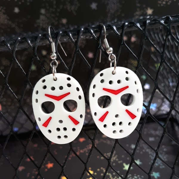 Jason Voorhees Hockey Mask Killer Halloween Pendant Earrings Spooky scary s movie Jewelry