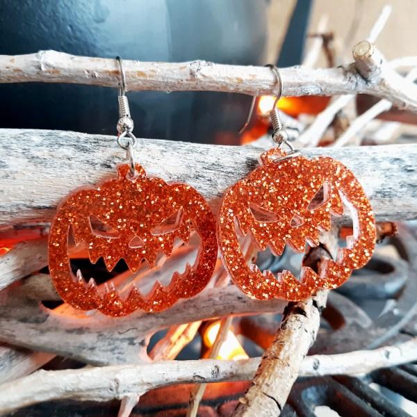 Orange Glitter Jackolantern Jack oLantern Pumpkin scary face big halloween acrylic halloween dangle earrings jewelry