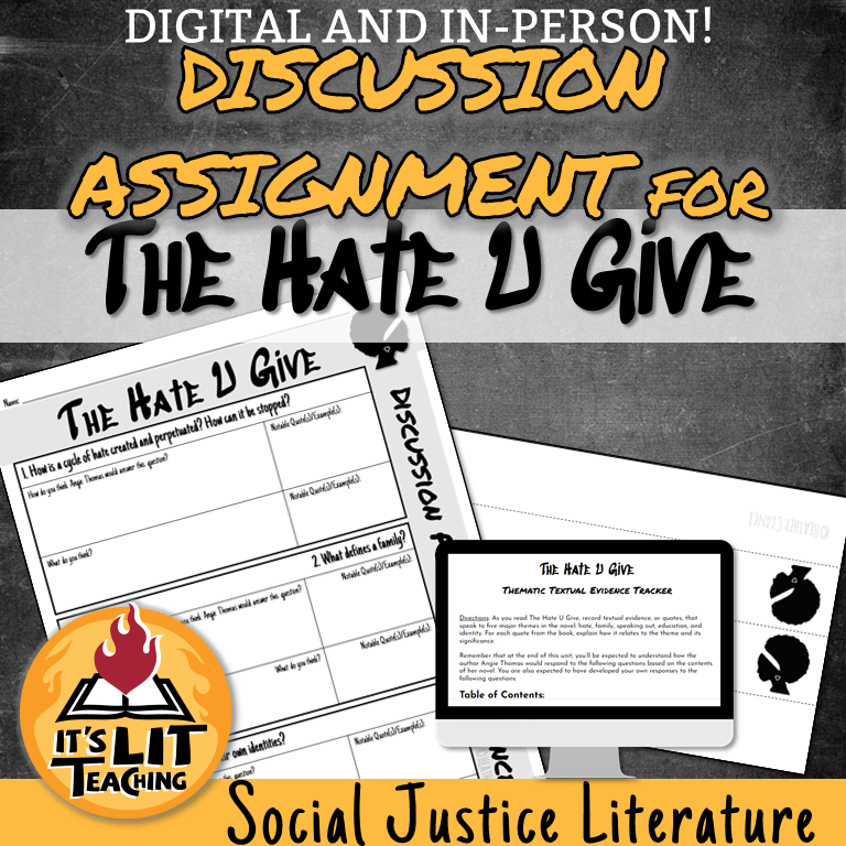 Cover for teaching resources for The Hate U Give. This product, available on Teachers Pay Teachers, includes everything a high school English teacher would need to teach Angie Thomas's first novel