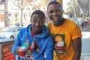 VOTING COFFEE: Sello Moabelo and Mpho Sekharume received free coffee for voting from a local restaurant.
