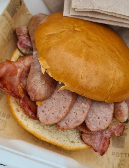 St Peters garden centre worcester - sausage and bacon breakfast bap