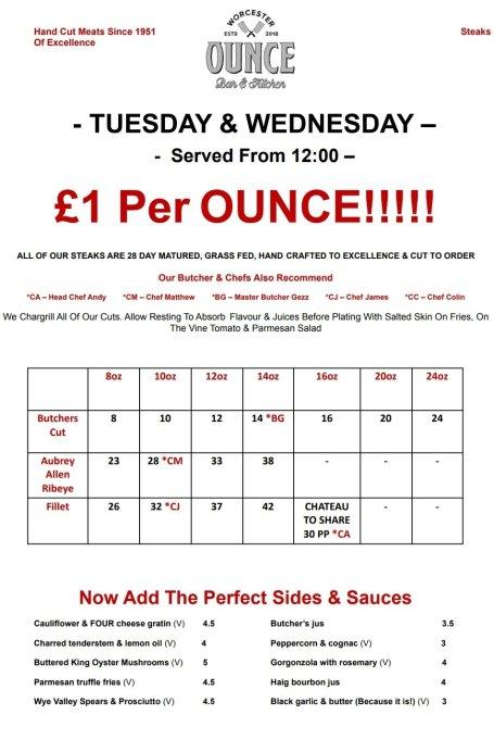Pound an ounce menu worcester