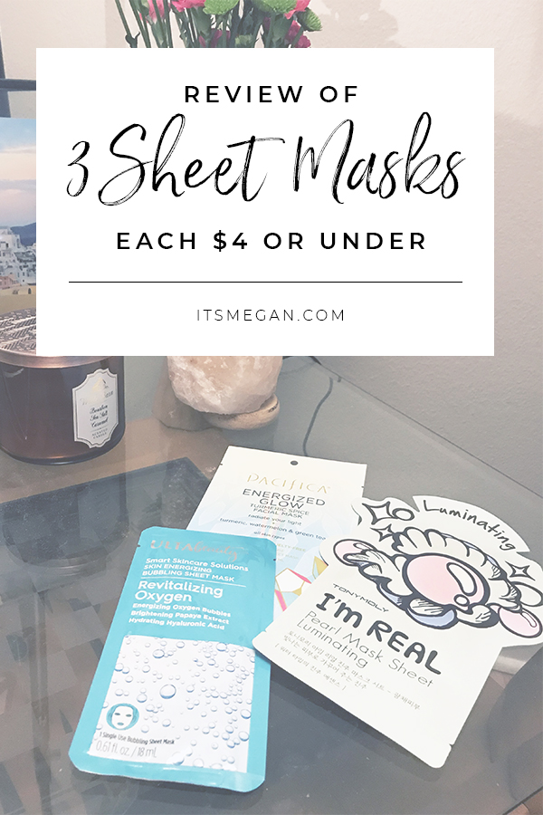 Review of 3 Sheet Masks, Each Under $4 | It's Megan Blog | #beauty #beautytips #skincare #selfcare #facemasks