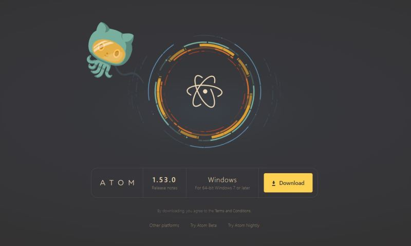 Screenshot of the Atom website