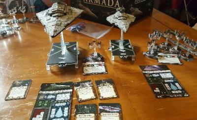 An Imperial Star Destroyer, A Victory Star Destroyer and 6 Tie Fighter Squadrons