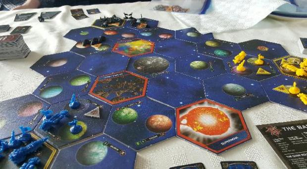 Twilight Imperium board set up and turn one underway