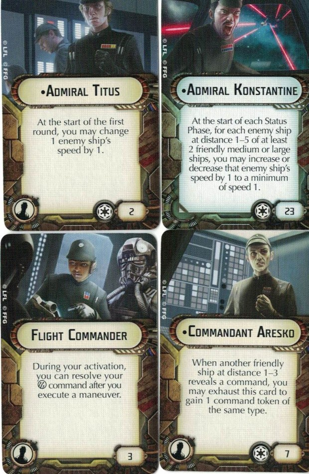 The Imperial Interdictor comes with one Admiral, Admiral Konstantine, and three officer upgrades. Admiral Titus, Commandant Aresko and the Flight Commander.