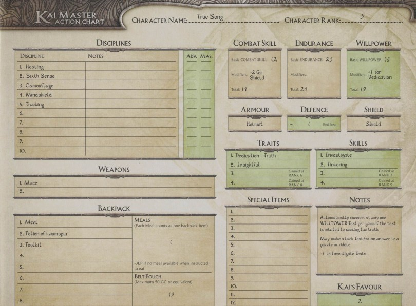 Each of the starter Kai Lords in The Lone Wolf Adventure Game have 2 variant character sheets. One is simple, for the first adventure, whilst the other utilises more rules and is for players who have completed the first adventure