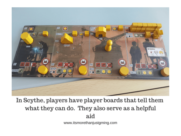 In Scythe, players have player boards that tell them what they can do. They also serve as a helpful aid