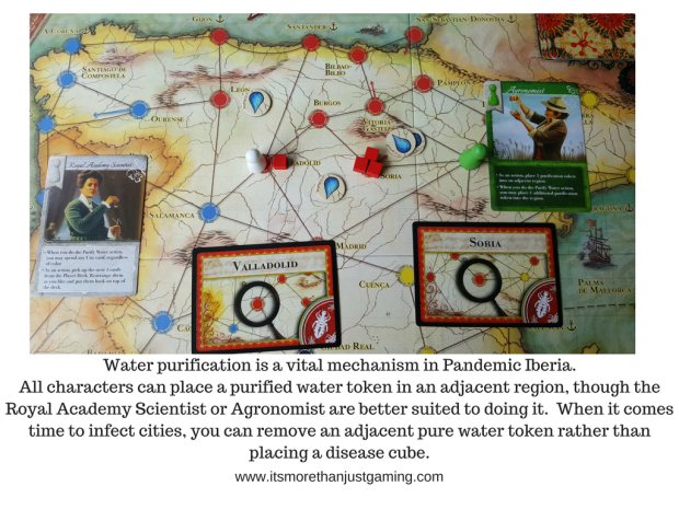 Water purification is a vital mechanism in Pandemic Iberia. All characters can place a purified water token in an adjacent region, though the Royal Academy Scientist or Agronomist are better suited to doing it. When it comes time to infect cities, you can remove an adjacent pure water token rather than placing a disease cube.