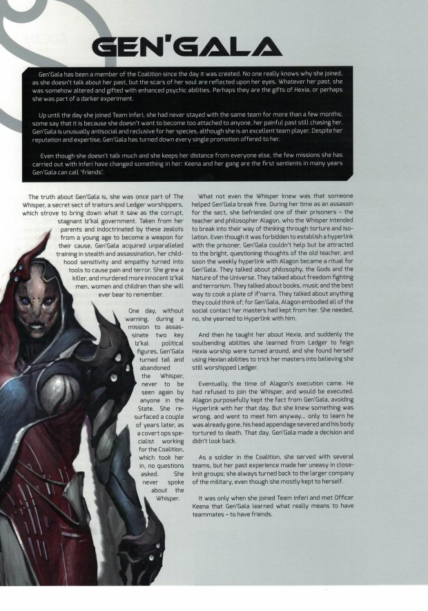 Faith: A Garden in hell ships with 4 premade characters including bios, and stats.
