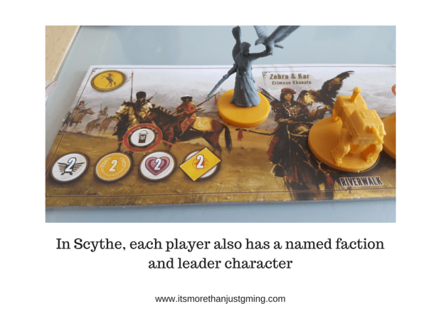 In Scythe, each player also has a named faction and leader character