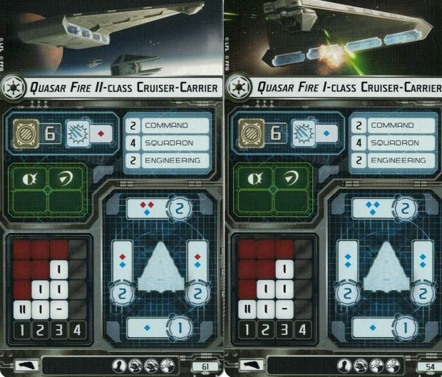 The Ship Cards for the Imperial Light Carrier in Star Wars Armada