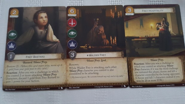 Walder Frey, Frey Bastard and Frey Hospitality cards for Game of Thrones cardgame