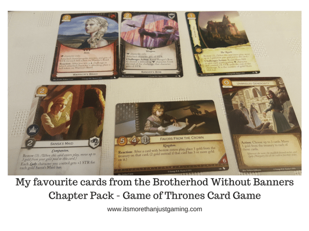 Warrior's Braid, Ranger's Bow, Horn Hill, Sansa's Maid, Favors from the Crown, Unbridled Generosity cards for Game of thrones card games