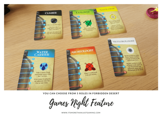 there are 5 roles to choose from in forbidden desert