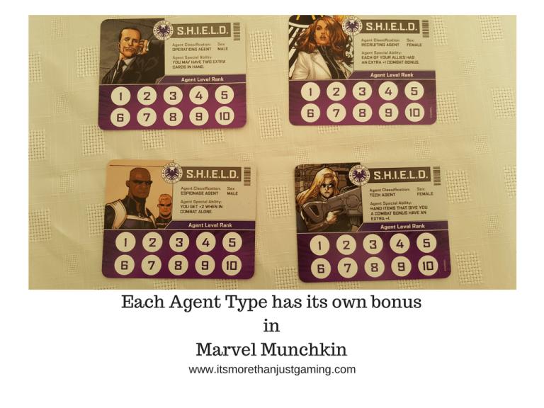 Each Agent Type has its own bonusinMarvel Munchkin