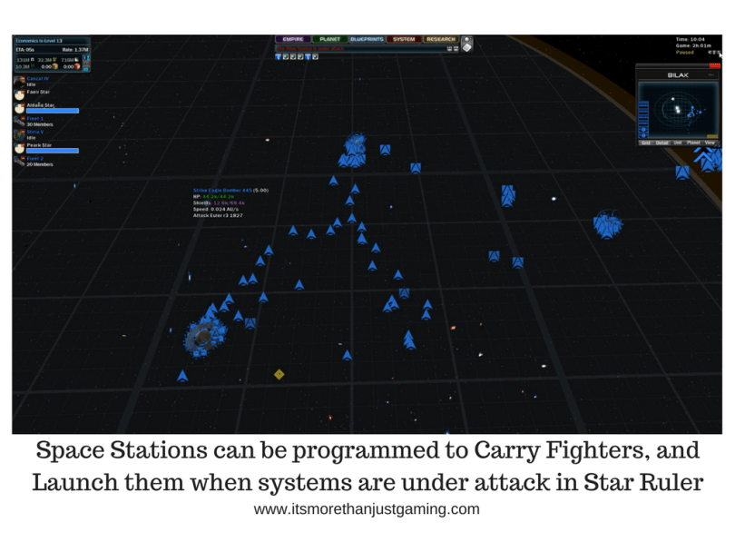 Space Stations can be programmed to Carry Fighters, and Launch them when systems are under attack in Star Ruler