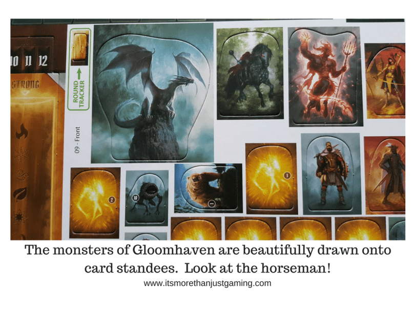 The monsters of Gloomhaven are beautifully drawn ontocard standees. Look at the horseman!