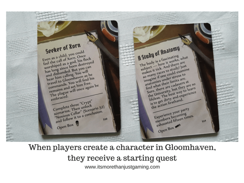 When players create a character in Gloomhaven,they receive a starting quest