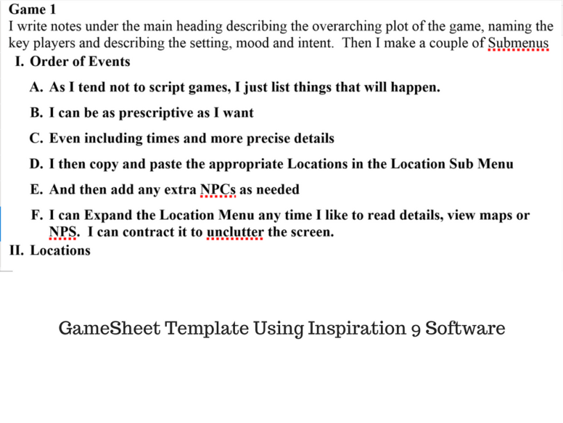 Gamesheet Template Using Inspiration 9 Software