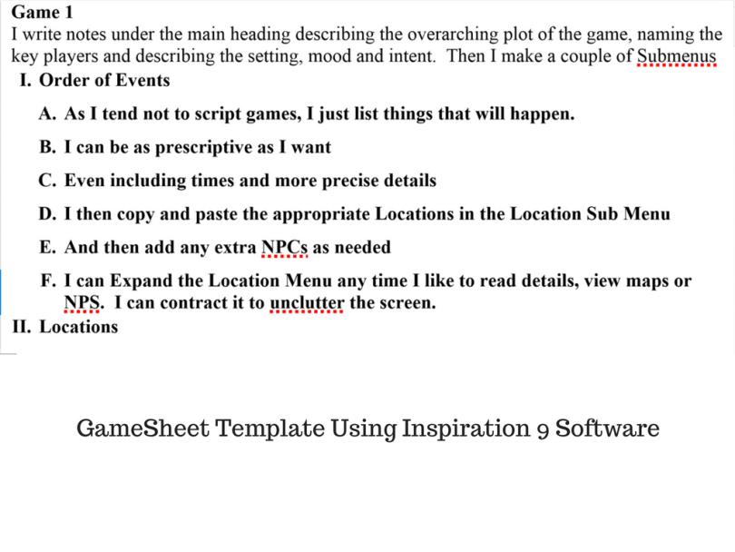 Gamesheet Template Using Inspiration 9 Software
