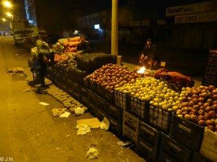 Fruit seller at night