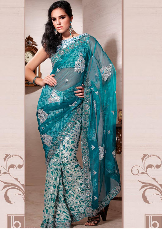 Sky-blue-saree-design-2012-2013